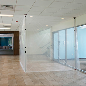 ZipWall dust barrier for a dust protection anteroom or dust containment vestibule